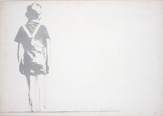 Giosetta Fioroni, Bambino solo, 1967, matita e smalto alluminio su carta, 100 x 70 cm
