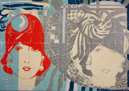 Giosetta Fioroni, Liberty viennese, smalti colorati su tela, 100 x 140 cm
