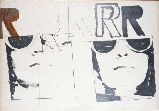 Giosetta Fioroni, Ragazza a Villa R, 1965, matita, smalto alluminio su carta, 70 x 100 cm