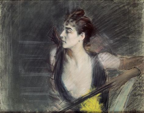 Giovanni Boldini: Madame X, la cognata di Helleu, c. 1885-90 Pastello su carta applicata su tela, mm 730 x 930 Ferrara, Museo dell'Ottocento