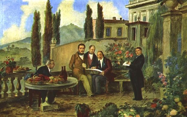 Luigi Deleidi detto il Nebbia, Donizetti e amici - Olio su tela cm 68x49 - Bergamo, museo donizettiano - da sinistra l'oste Bettinelli, Gaetano Donizetti, Dolci, Simone Mayr in piedi l'autore Deleidi
