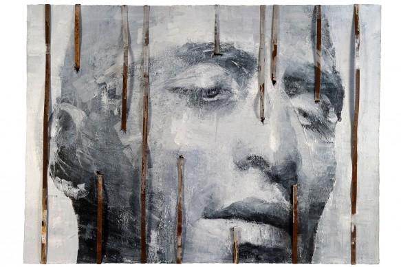 Vitaliano, Wa 02.016, 2016, pittura e materiali integrati, 110x150 cm