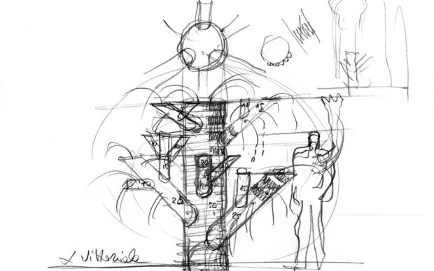 schizzo Vittoriale Mario Botta giardini di pan gabriele d'annunzio fontana opera site-specific
