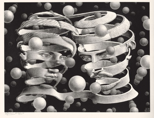 Maurits Cornelis Escher,  Vincolo d'unione, Aprile 1956. Litografia, 25,3x33,9 cm, Collezione Giudiceandrea Federico. All M.C. Escher works © 2016 The M.C. Escher Company. All rights reserved