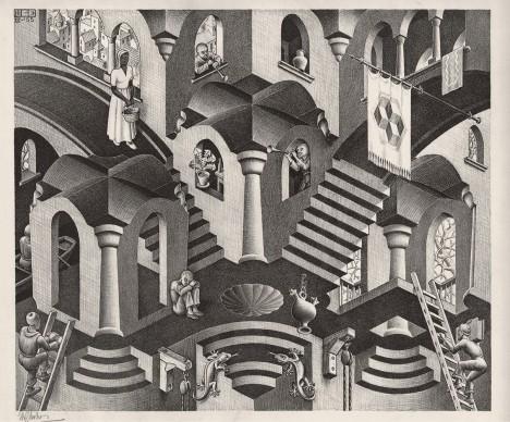 Maurits Cornelis Escher, Convesso e concavo, Marzo 1955, Litografia, 27,5x33,5 cm, Collezione Giudiceandrea Federico. All M.C. Escher works © 2016 The M.C. Escher Company. All rights reserved