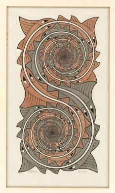 Maurits Cornelis Escher, Vortici, 1957, Incisione, 43,8x23,5 cm, Collezione Giudiceandrea Federico. All M.C. Escher works © 2016 The M.C. Escher Company. All rights reserved