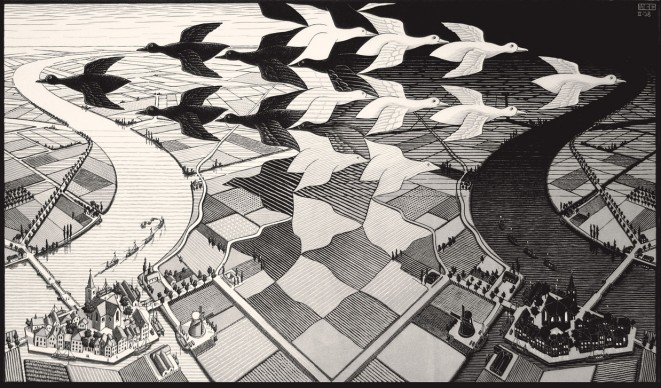 Maurits Cornelis Escher, Giorno e notte, Febbraio 1938, Xilografia, 39,1x67,7 cm, Collezione Giudiceandrea Federico. All M.C. Escher works © 2016 The M.C. Escher Company. All rights reserved