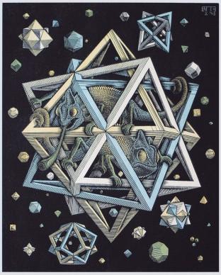 Maurits Cornelis Escher, Stelle, Novembre 1930, Xilografia colorata, 32x26 cm, Collezione Giudiceandrea Federico. All M.C. Escher works © 2016 The M.C. Escher Company. All rights reserved