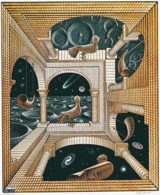 Maurits Cornelis Escher, Altro mondo II, Gennaio 1947, Xilografia a tre blocchi, 31,8x26,1 cm, Collezione Giudiceandrea Federico. All M.C. Escher works © 2016 The M.C. Escher Company. All rights reserved