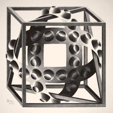 Maurits Cornelis Escher, Cubo con nastri, 1957, Litografia, 30,9x30,5 cm, Collezione Giudiceandrea Federico. All M.C. Escher works © 2016 The M.C. Escher Company. All rights reserved