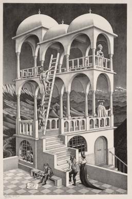 Maurits Cornelis Escher, Belvedere, Maggio 1958, Litografia, 46,2x29,5 cm, Collezione Giudiceandrea Federico. All M.C. Escher works © 2016 The M.C. Escher Company. All rights reserved