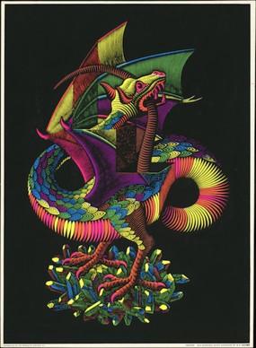 Maurits Cornelis Escher, Dragon, Black Light Poster, 77x58 cm, Collezione Giudiceandrea Federico. All M.C. Escher works © 2016 The M.C. Escher Company. All rights reserved