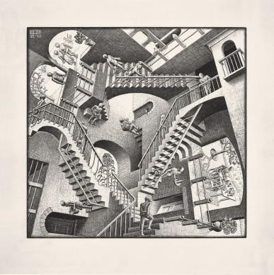 Maurits Cornelis Escher, Casa di scale - Relatività, 1953, Litografia, 27,7x29,2 cm, Collezione Giudiceandrea Federico. All M.C. Escher works © 2016 The M.C. Escher Company. All rights reserved