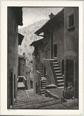 Maurits Cornelis Escher, Strada a Scanno, Abruzzo, 1930, Litografia, 62,7x43,1 cm, Collezione Giudiceandrea Federico. All M.C. Escher works © 2016 The M.C. Escher Company. All rights reserved