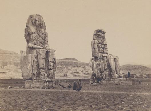 Frank Mason Good, Colossi of Memnon,  Qurna 1869. Vintage print, 15.8 x 20.9 cm © Courtesy Galerie Johannes Faber, Vienna