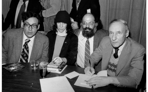 Carl Solomon, Patti Smith, Allen Ginsberg and William S. Burroughs at the Gotham Book Mart celebrating the reissue of JUNKY, NYC, 1977