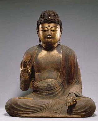 Amida Nyorai (Amitābha), Periodo Heian, XII secolo.  Legno coperto di lacca urushi, altezza 140,2 cm. Kyoto National Museum