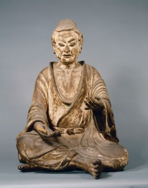 Yuima Koji (Vimalakīrti Nirdeśa), Periodo Nara, VIII secolo. Legno dipinto, altezza 91,8 cm Hokkeji, Nara, Importante proprietà culturale