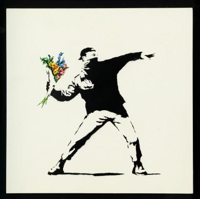 Banksy, Love is in the air (flower trower), 2003. Photo by Dario Lasagni