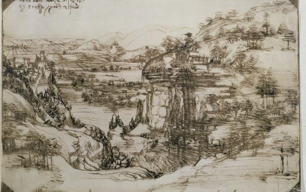 Leonardo da Vinci, Paesaggio (5 agosto 1473) – Firenze, Gabinetto Disegni e Stampe degli Uffizi