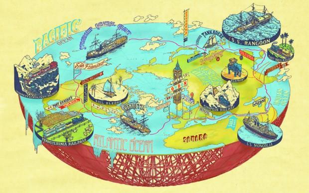 giro del mondo in 80 giorni mappa illustrata Plotted A Literary Atlas