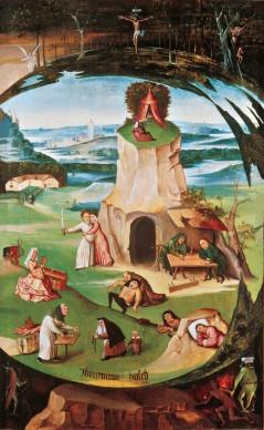 Hieronymus Bosch, I sette peccati capitali, 1500  - 1515. Olio su tavola, 86,5x56 cm,  Geneva Fine Arts Foundation