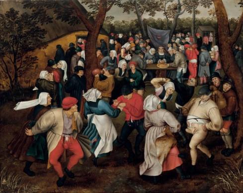 Pieter Brueghel il Giovane, Danza nuziale all'aperto, 1610 ca. Olio su tavola, 74,2x94 cm.  Collezione privata U.S.A.