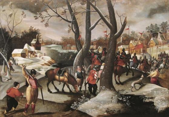 Marten van Cleve, Paesaggio invernale con la Strage degli innocenti, 1570 ca. Olio su tavola, 74x106,5 cm, Collezione privata, Belgio