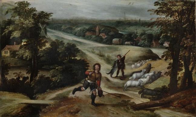 Marten van Cleve, Parabola del buon pastore, 1578-80 ca. Olio su tavola, 28,5x 47 cm