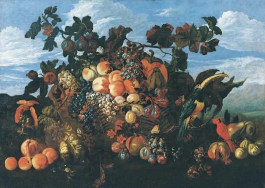 Abraham Brueghel, Grande natura morta di frutta in un paesaggio, 1670. Olio su tela, 97x 136,5 cm. Collezione privata