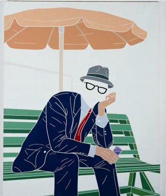 Emilio Tadini, L'uomo dell'organizzazione. Week-end al parco, 1968, acrilici su tela