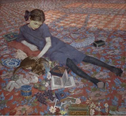 Felice Casorati, Bambina che gioca su tappeto rosso, 1912, olio su tela, Gand, Museum voor Schone Kunsten