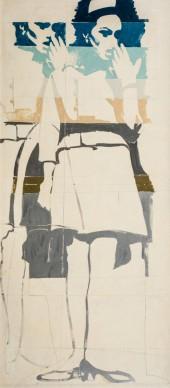 Giosetta Fioroni, Una donna in silenzio, 1964, matita, smalti colorati, alluminio su tela, 180x80 cm