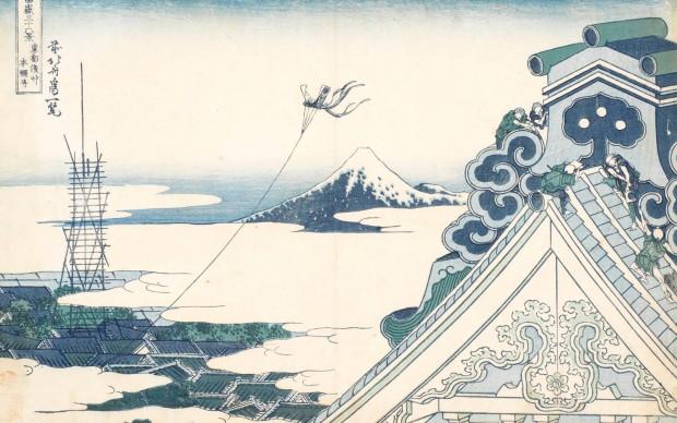 Katsushika Hokusai Il santuario Honganji di Asakusa a Edo, dalla serie Trentasei vedute del monte Fuji (1830-1832 circa) Silografia policroma, 24,7 x 36,5 cm - Honolulu Museum of Art