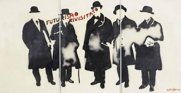 Mario Schifano, Futurismo rivisitato, 1965, smalto e spray su tela e perspex