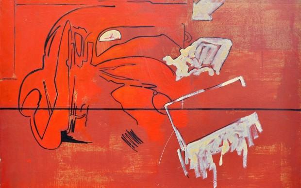 Mario Schifano, Incidente, 1961, smalto su carta intelata, 100x100 cm