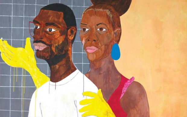 Nina Chanel Abney, Khaaliqua & Jeff (detail), 2007; Acrylic on canvas, 61 x 63 3/4 in.; Courtesy of the Rubell Family Collection
