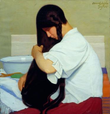 Oscar Ghiglia, La camicia bianca o Donna che si pettina, 1909, olio su tela, Viareggio, Istituto Matteucci
