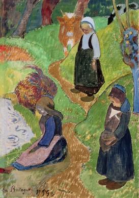 Paul Gauguin, En Bretagne, 1889 (watercolour, gold paint and gouache on paper)