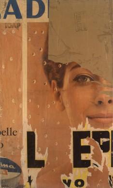 Mimmo Rotella, Come la Gioconda, 1962, collage su tela