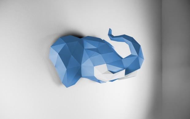 papertrophy Elefant Wand Blau Weiß