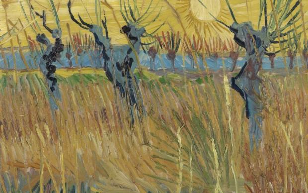 Vincent van Gogh, Salici potati al tramonto, 1888, olio su tela applicata su cartone, cm 31,6 x 34,3. Otterlo, Kröller-Müller Museum
