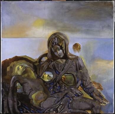 """Salvador Dalí, Eco geológico. Según """"La Piedad"""" de Miguel Ángel, 1982, olio su tela, 100,20 x 100 cm. ©Salvador Dalí, Fundació Gala-Salvador Dalí by SIAE 2016"""