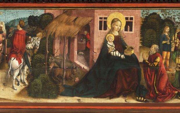 Adorazione dei Magi Pittore Hans T 1510 ca. Tempera su tavola in legno Levoča, Basilica di San Giacomo Altare della Predella della Natività (dei Quattro Santi)