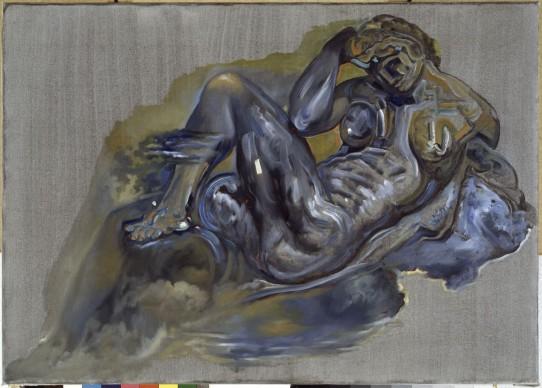 Salvador Dalí, Sin título. La Noche según la tumba de Giuliano de Médici de Miguel Ángel, 1982, olio su tela, 67 x 95 cm. ©Salvador Dalí, Fundació Gala-Salvador Dalí by SIAE 2016