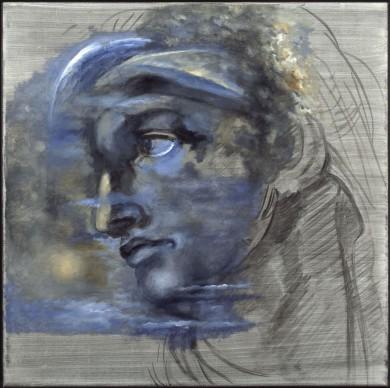 Salvador Dalí, Sin título. Según cabeza de Miguel Ángel, 1982 circa, olio su tela, 75 x 75 x 3 cm. ©Salvador Dalí, Fundació Gala-Salvador Dalí by SIAE 2016