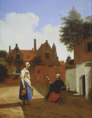 Pieter de Hooch (1629-1684), A Courtyard in Delft at Evening: a Woman spinning, 1657, Royal Collection Trust / © Her Majesty Queen Elizabeth II 2016