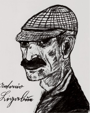 Antonio Ligabue, Autoritratto con berretto da fantino, s.d. (1962). Matita su carta, 37,5x30 cm. Collezione privata