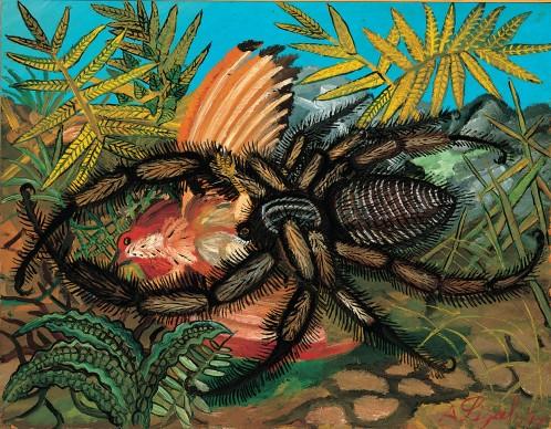 Antonio Ligabue, Vedova nera con volatile, s.d. (1955-1956). Olio su tavola di faesite, 53x68,5 cm. Collezione privata