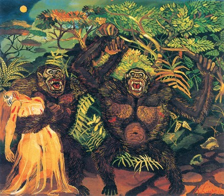 Antonio Ligabue, Gorilla con donna, s.d. (1957-1958). Olio su tavola di faesite, 88x100 cm. Collezione privata